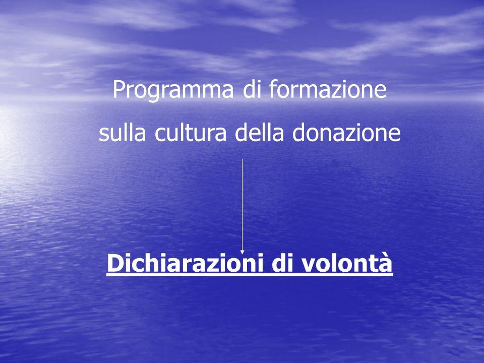 Programma di formazione sulla cultura della donazione Dichiarazioni di volontà