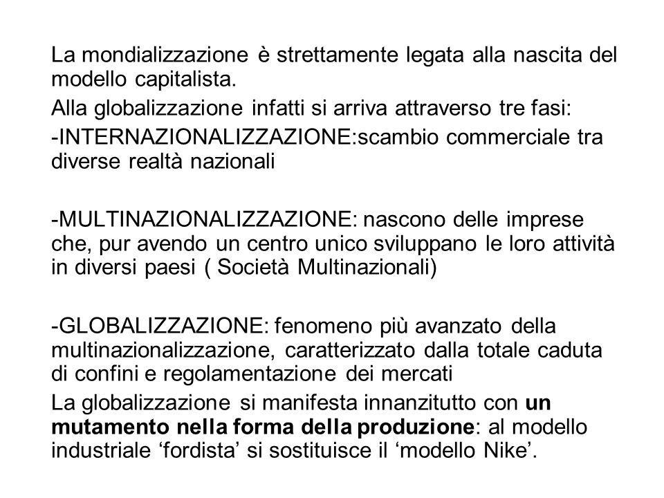 La mondializzazione è strettamente legata alla nascita del modello capitalista. Alla globalizzazione infatti si arriva attraverso tre fasi: -INTERNAZI