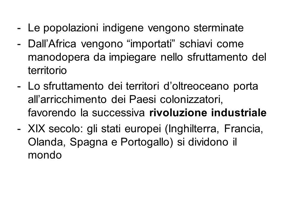 -Le popolazioni indigene vengono sterminate -DallAfrica vengono importati schiavi come manodopera da impiegare nello sfruttamento del territorio -Lo s