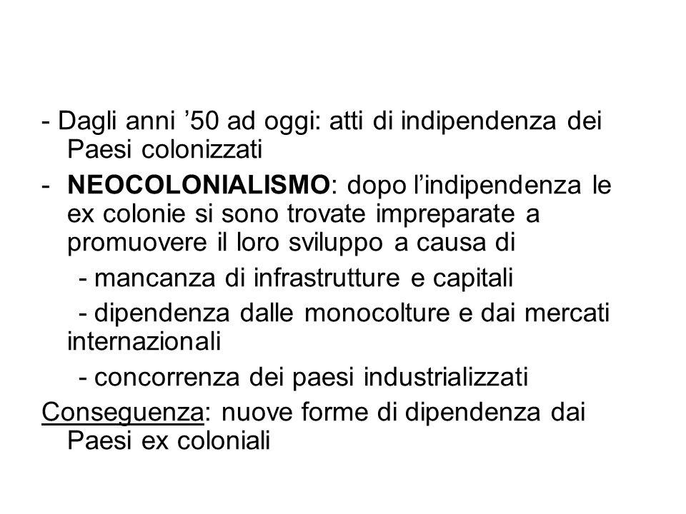- Dagli anni 50 ad oggi: atti di indipendenza dei Paesi colonizzati -NEOCOLONIALISMO: dopo lindipendenza le ex colonie si sono trovate impreparate a p
