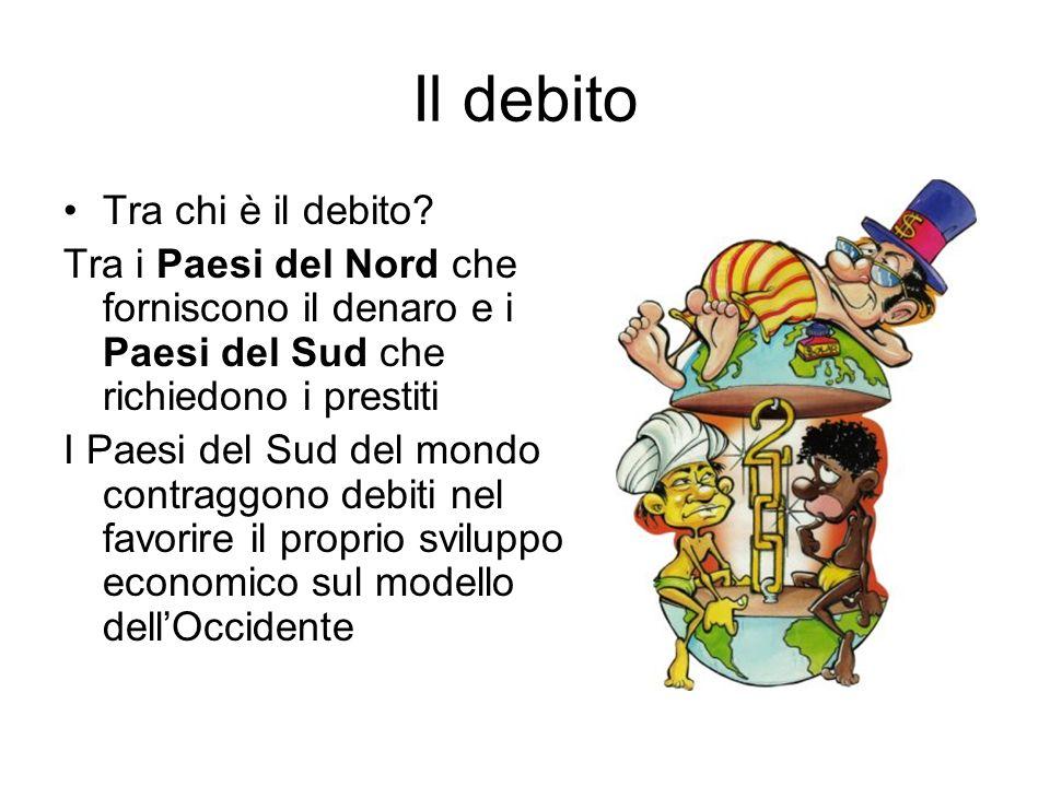 Il debito Tra chi è il debito? Tra i Paesi del Nord che forniscono il denaro e i Paesi del Sud che richiedono i prestiti I Paesi del Sud del mondo con
