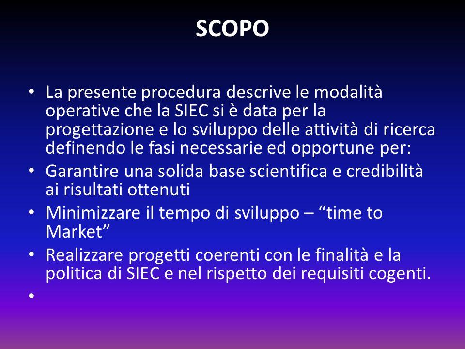 SCOPO La presente procedura descrive le modalità operative che la SIEC si è data per la progettazione e lo sviluppo delle attività di ricerca definend
