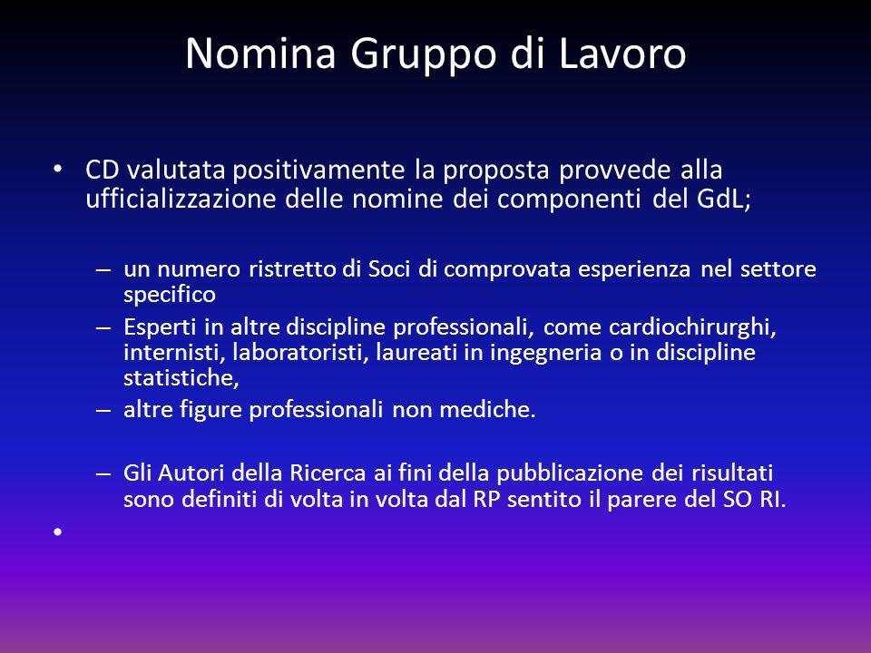 Nomina Gruppo di Lavoro CD valutata positivamente la proposta provvede alla ufficializzazione delle nomine dei componenti del GdL; – un numero ristret