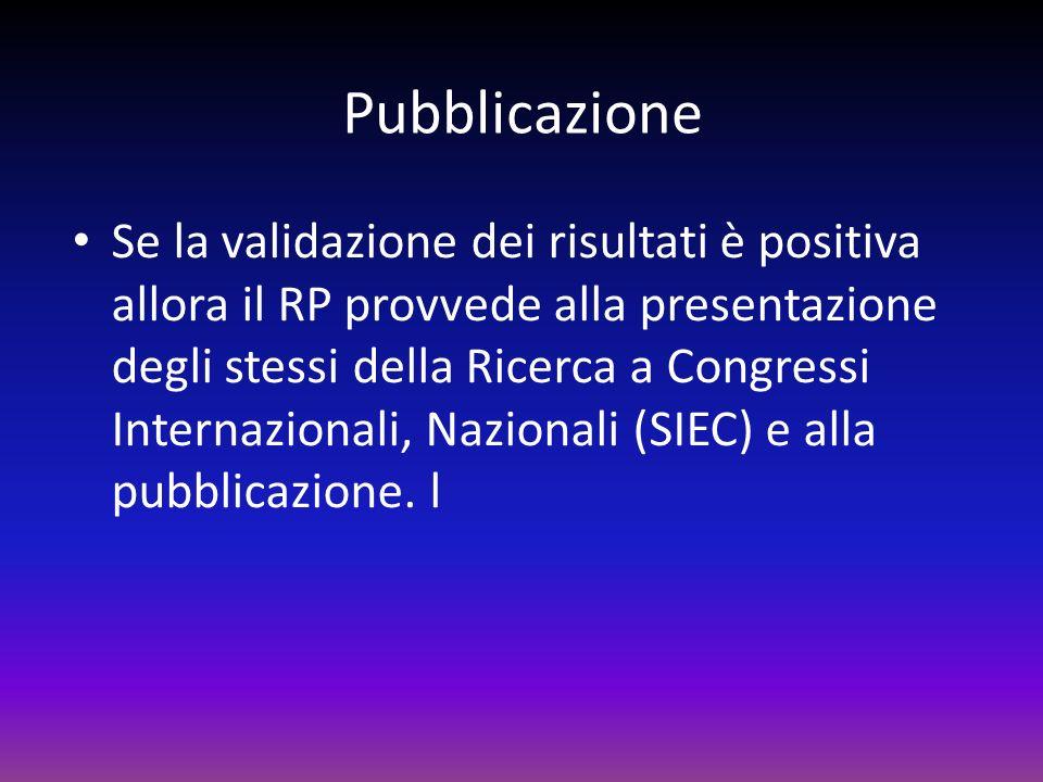 Pubblicazione Se la validazione dei risultati è positiva allora il RP provvede alla presentazione degli stessi della Ricerca a Congressi Internazional