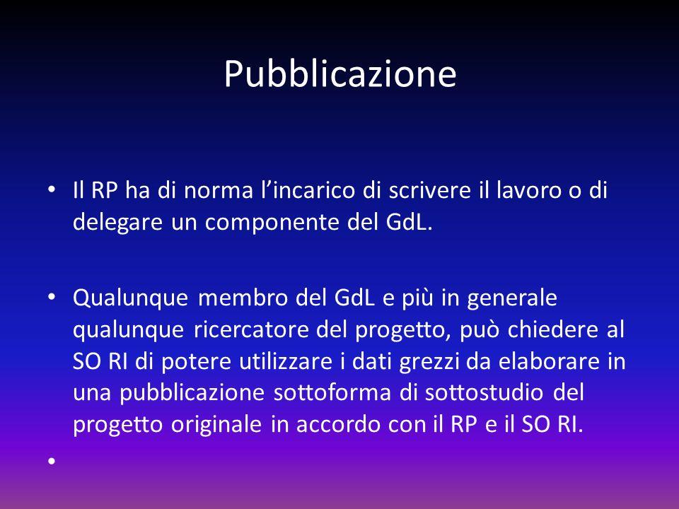 Pubblicazione Il RP ha di norma lincarico di scrivere il lavoro o di delegare un componente del GdL. Qualunque membro del GdL e più in generale qualun