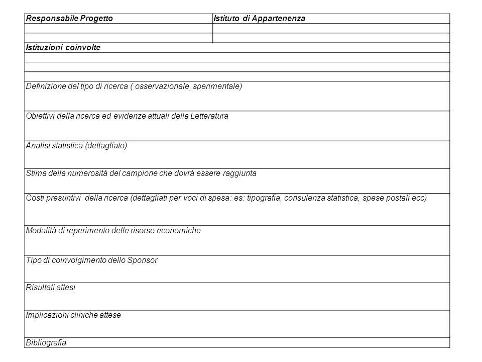 Responsabile ProgettoIstituto di Appartenenza Istituzioni coinvolte Definizione del tipo di ricerca ( osservazionale, sperimentale) Obiettivi della ri