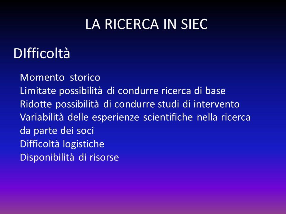 LA RICERCA IN SIEC DIfficoltà Momento storico Limitate possibilità di condurre ricerca di base Ridotte possibilità di condurre studi di intervento Var