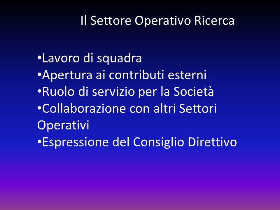 Il Settore Operativo Ricerca Lavoro di squadra Apertura ai contributi esterni Ruolo di servizio per la Società Collaborazione con altri Settori Operat