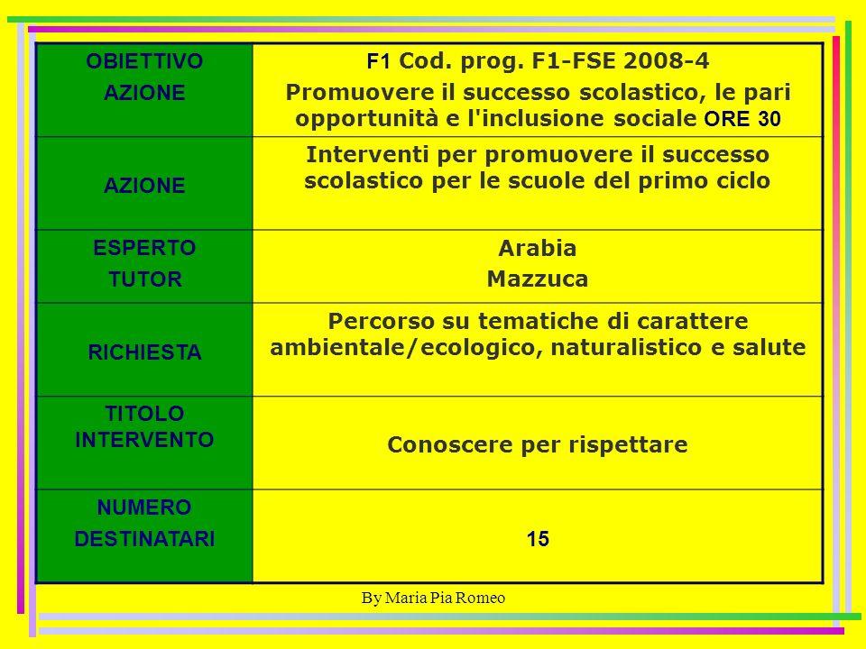By Maria Pia Romeo OBIETTIVO AZIONE F1 Cod. prog.