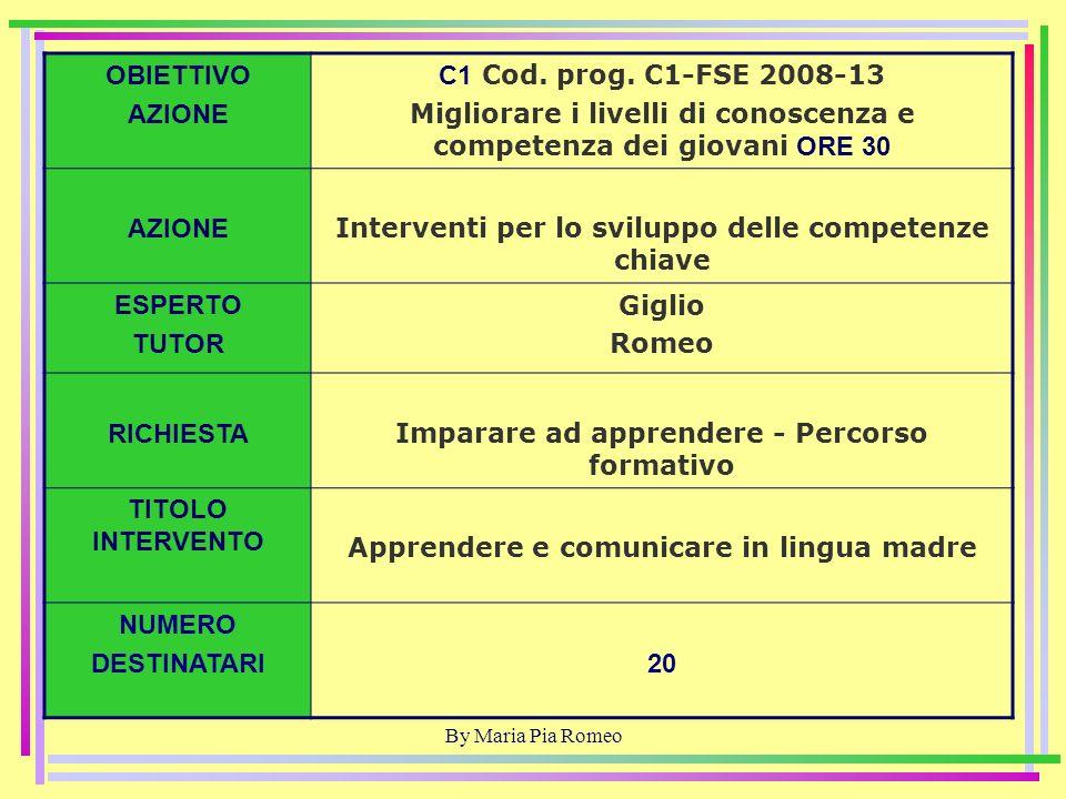By Maria Pia Romeo OBIETTIVO AZIONE D1 Cod.prog.