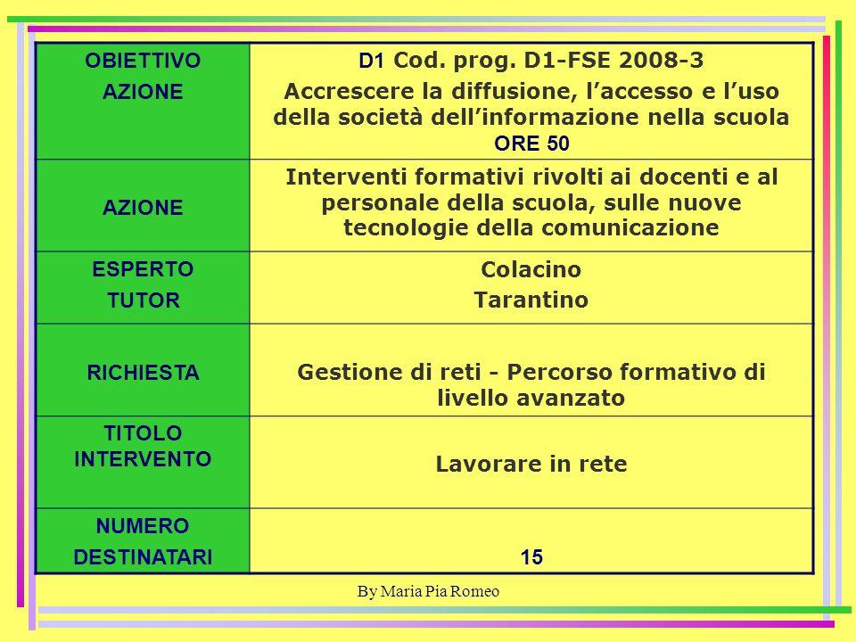 By Maria Pia Romeo OBIETTIVO AZIONE D1 Cod. prog.