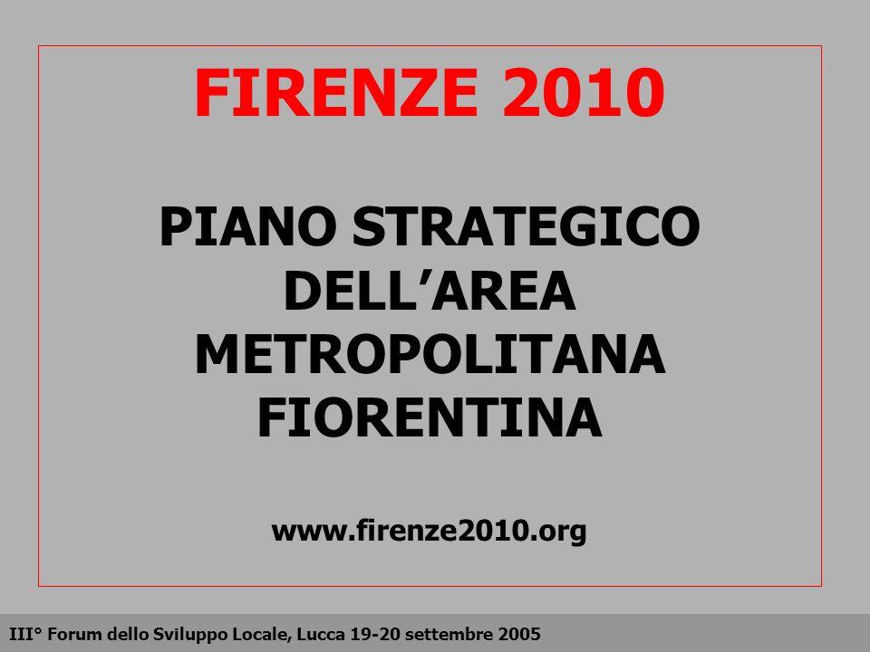 FIRENZE 2010 PIANO STRATEGICO DELLAREA METROPOLITANA FIORENTINA www.firenze2010.org III° Forum dello Sviluppo Locale, Lucca 19-20 settembre 2005