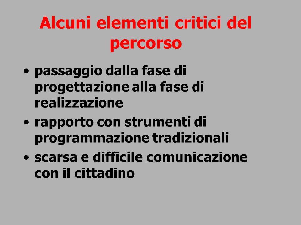 Alcuni elementi critici del percorso passaggio dalla fase di progettazione alla fase di realizzazione rapporto con strumenti di programmazione tradizi