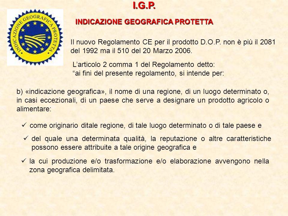 I.G.P. INDICAZIONE GEOGRAFICA PROTETTA Il nuovo Regolamento CE per il prodotto D.O.P. non è più il 2081 del 1992 ma il 510 del 20 Marzo 2006. Larticol