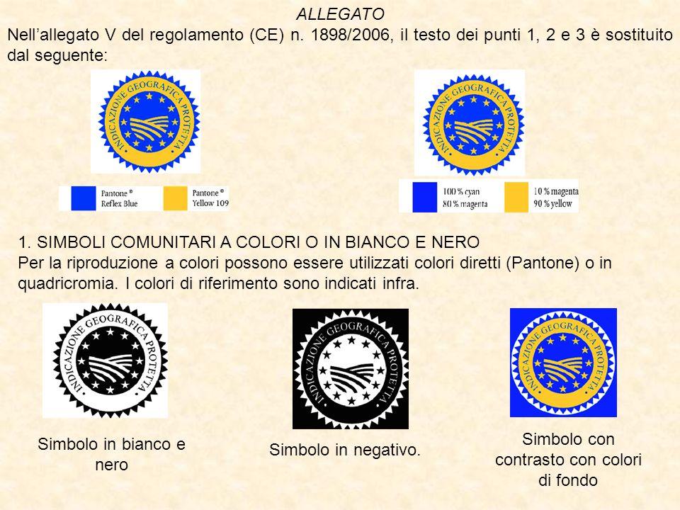 ALLEGATO Nellallegato V del regolamento (CE) n. 1898/2006, il testo dei punti 1, 2 e 3 è sostituito dal seguente: 1. SIMBOLI COMUNITARI A COLORI O IN