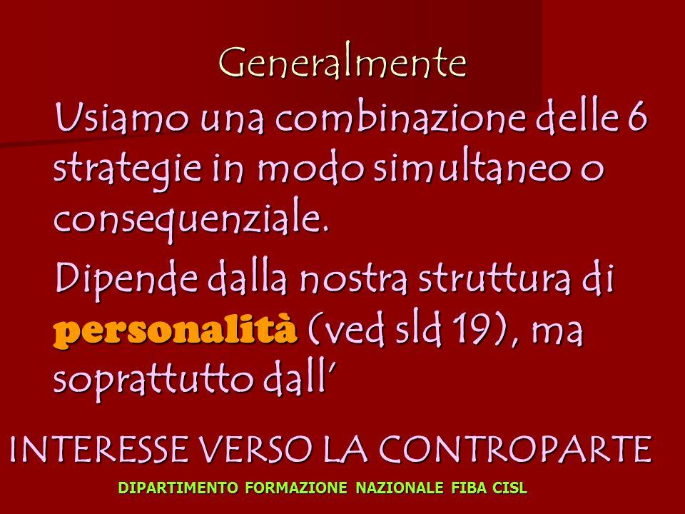 Generalmente Usiamo una combinazione delle 6 strategie in modo simultaneo o consequenziale.