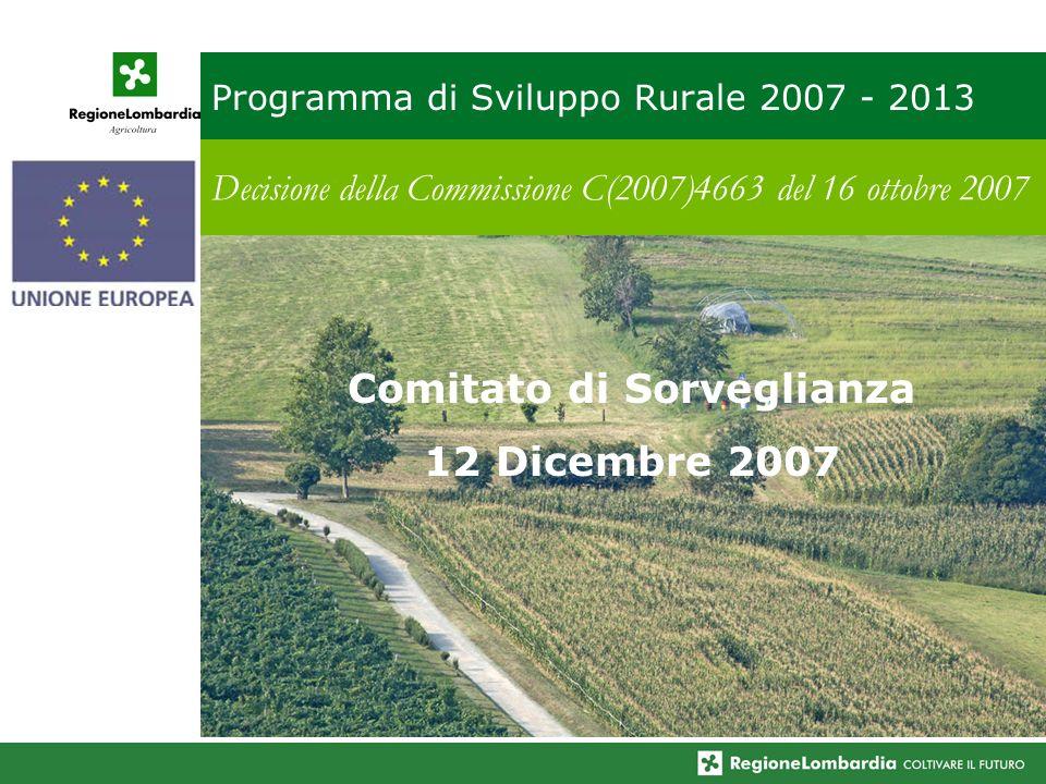 Programma di Sviluppo Rurale 2007 - 2013 Decisione della Commissione C(2007)4663 del 16 ottobre 2007 Comitato di Sorveglianza 12 Dicembre 2007