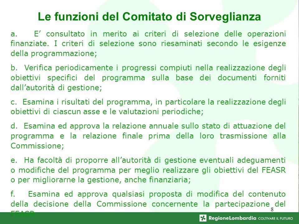 8 Le funzioni del Comitato di Sorveglianza a.
