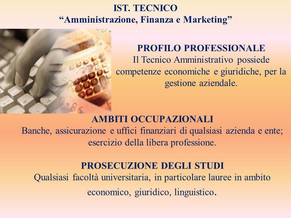 AMBITI OCCUPAZIONALI Banche, assicurazione e uffici finanziari di qualsiasi azienda e ente; esercizio della libera professione. PROSECUZIONE DEGLI STU