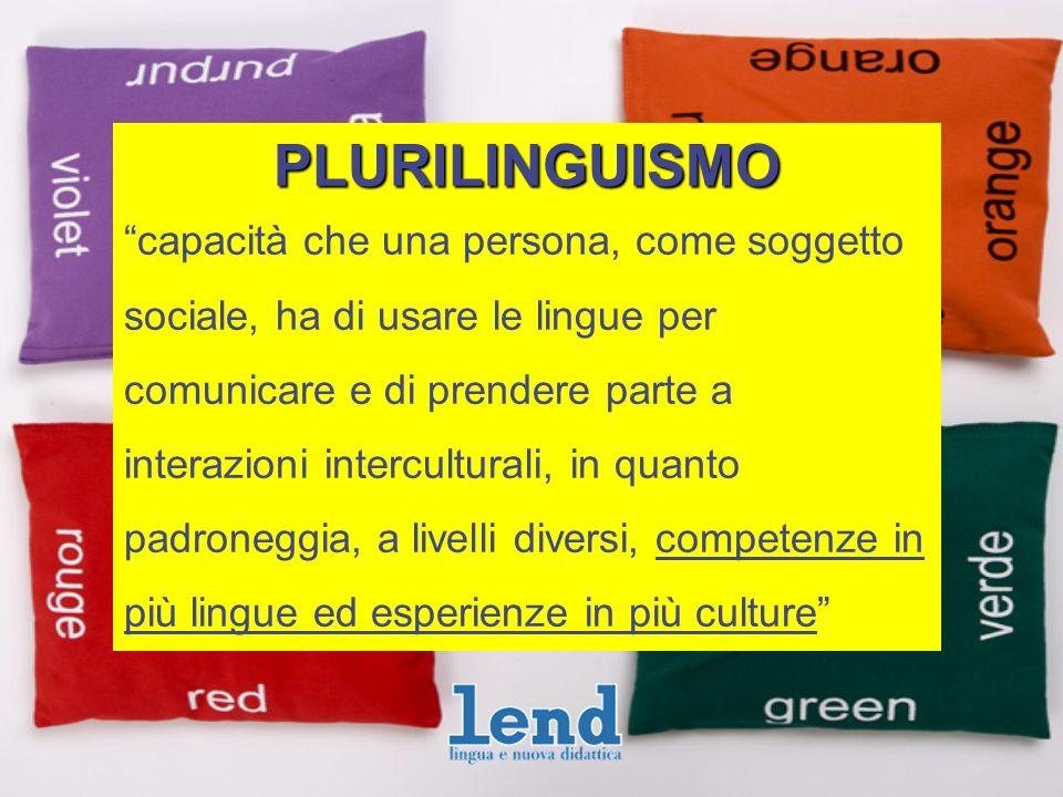 PLURILINGUISMO capacità che una persona, come soggetto sociale, ha di usare le lingue per comunicare e di prendere parte a interazioni interculturali, in quanto padroneggia, a livelli diversi, competenze in più lingue ed esperienze in più culture