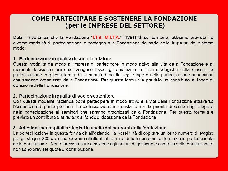 COME PARTECIPARE E SOSTENERE LA FONDAZIONE (per le IMPRESE DEL SETTORE) Data limportanza che la Fondazione I.T.S.