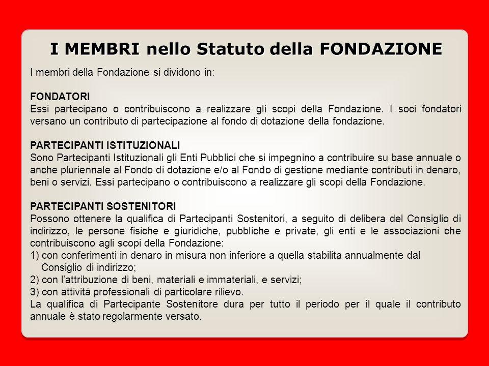 I membri della Fondazione si dividono in: FONDATORI Essi partecipano o contribuiscono a realizzare gli scopi della Fondazione.