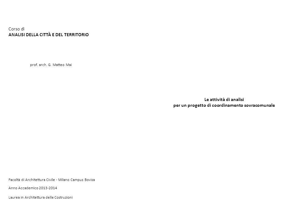 Corso di ANALISI DELLA CITTÀ E DEL TERRITORIO prof. arch. G. Matteo Mai Anno Accademico 2013-2014 Facoltà di Architettura Civile - Milano Campus Bovis