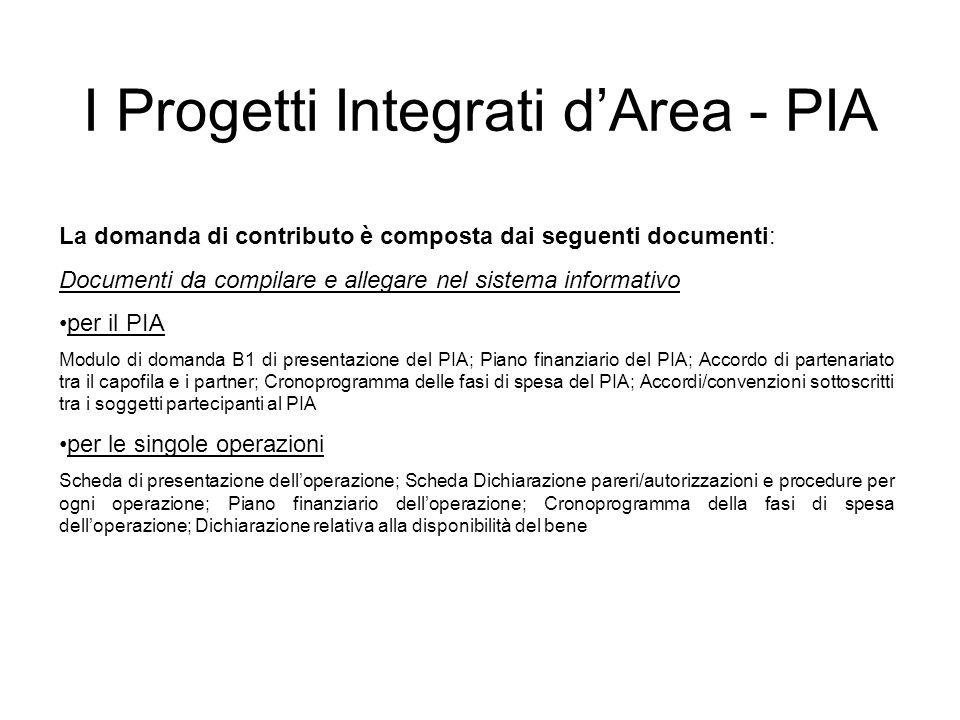 La domanda di contributo è composta dai seguenti documenti: Documenti da compilare e allegare nel sistema informativo per il PIA Modulo di domanda B1