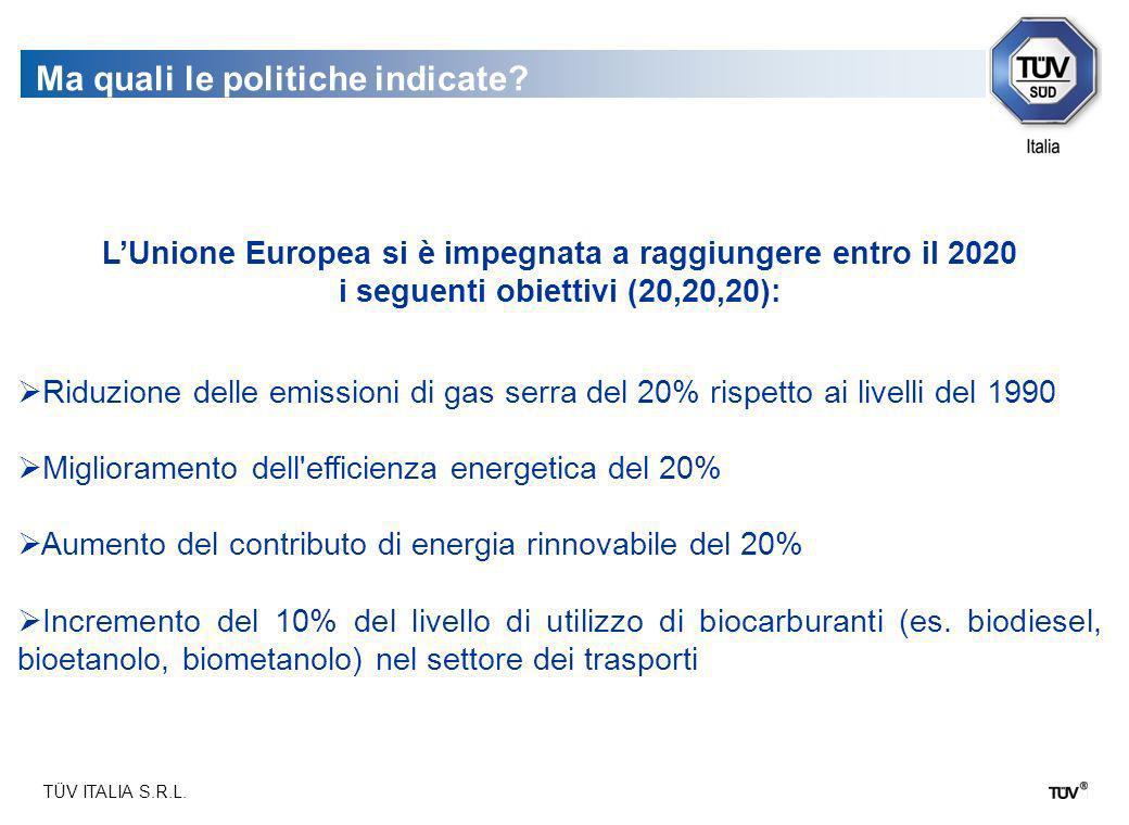 TÜV ITALIA S.R.L. Ma quali le politiche indicate? LUnione Europea si è impegnata a raggiungere entro il 2020 i seguenti obiettivi (20,20,20): Riduzion