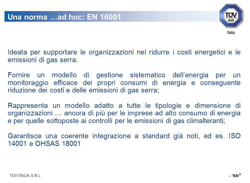TÜV ITALIA S.R.L. 14 Una norma …ad hoc: EN 16001 Ideata per supportare le organizzazioni nel ridurre i costi energetici e le emissioni di gas serra. F