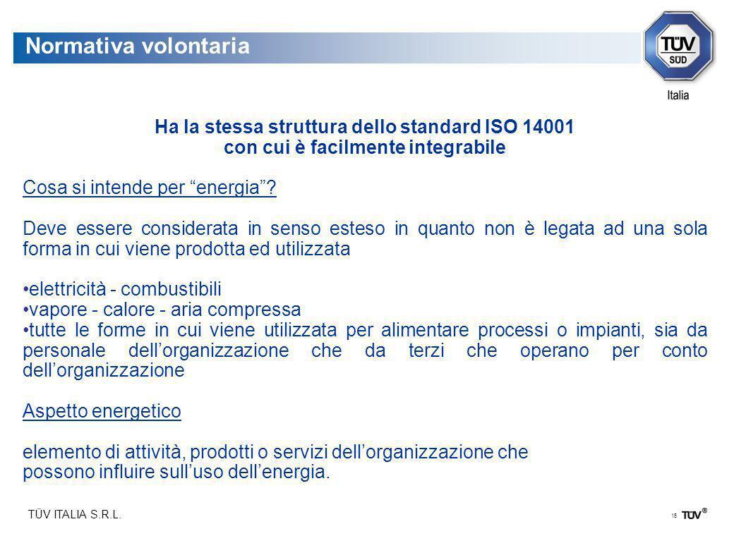 TÜV ITALIA S.R.L. 15 Normativa volontaria Ha la stessa struttura dello standard ISO 14001 con cui è facilmente integrabile Cosa si intende per energia