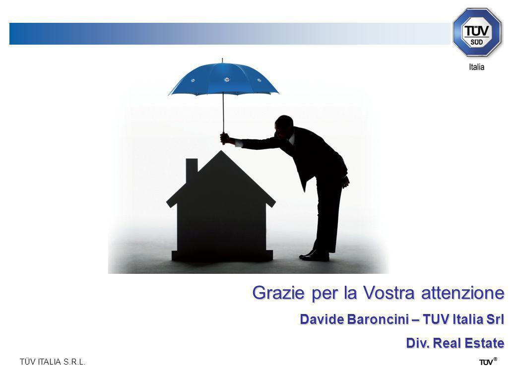 TÜV ITALIA S.R.L. Grazie per la Vostra attenzione Davide Baroncini – TUV Italia Srl Div. Real Estate