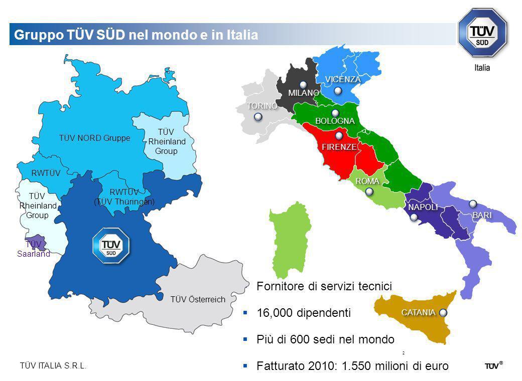 TÜV ITALIA S.R.L. 2 Fornitore di servizi tecnici 16,000 dipendenti Più di 600 sedi nel mondo Fatturato 2010: 1.550 milioni di euro Gruppo TÜV SÜD nel