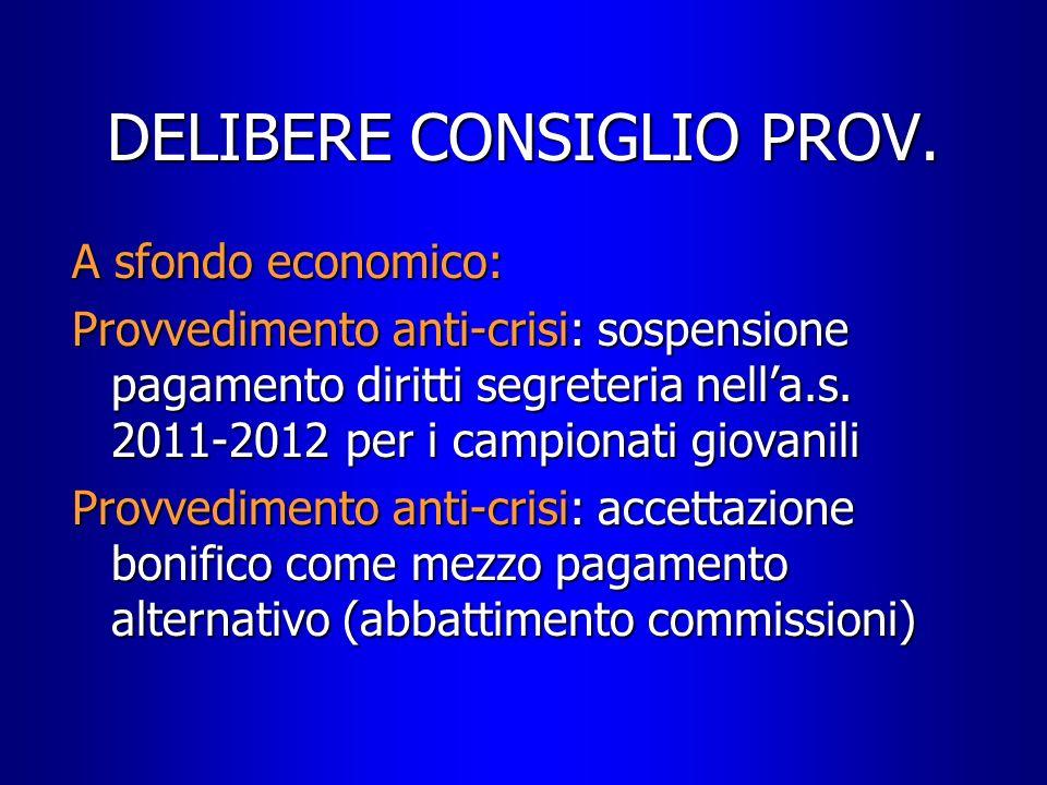 DELIBERE CONSIGLIO PROV.