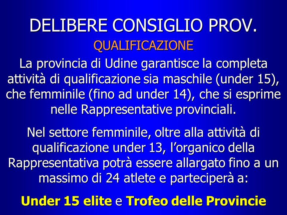 DELIBERE CONSIGLIO PROV. QUALIFICAZIONE La provincia di Udine garantisce la completa attività di qualificazione sia maschile (under 15), che femminile
