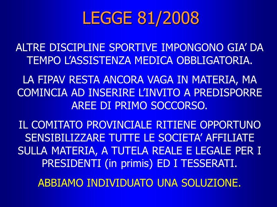 LEGGE 81/2008 ALTRE DISCIPLINE SPORTIVE IMPONGONO GIA DA TEMPO LASSISTENZA MEDICA OBBLIGATORIA. LA FIPAV RESTA ANCORA VAGA IN MATERIA, MA COMINCIA AD