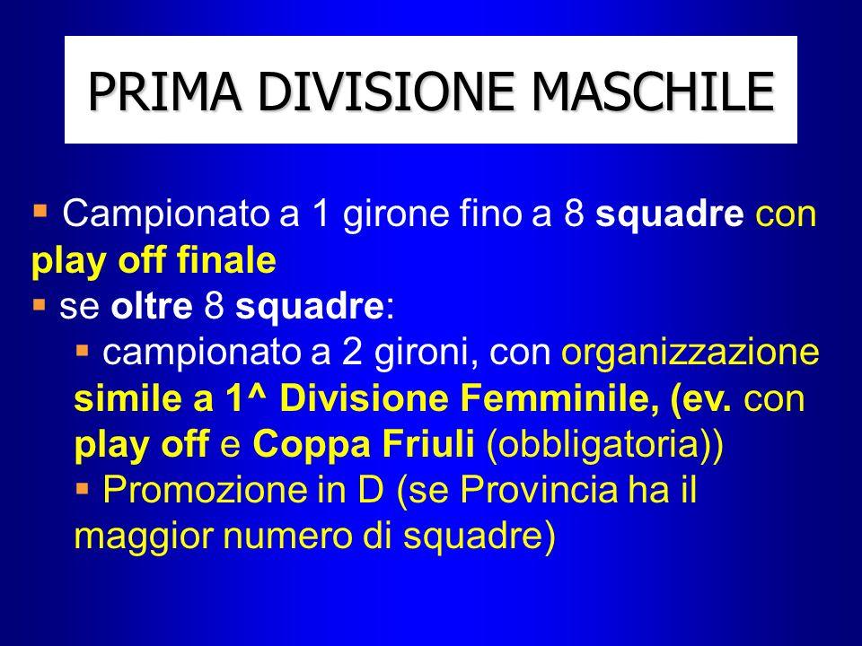 PRIMA DIVISIONE MASCHILE Campionato a 1 girone fino a 8 squadre con play off finale se oltre 8 squadre: campionato a 2 gironi, con organizzazione simile a 1^ Divisione Femminile, (ev.