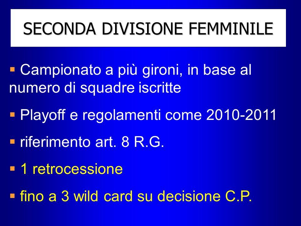 SECONDA DIVISIONE FEMMINILE Campionato a più gironi, in base al numero di squadre iscritte Playoff e regolamenti come 2010-2011 riferimento art. 8 R.G