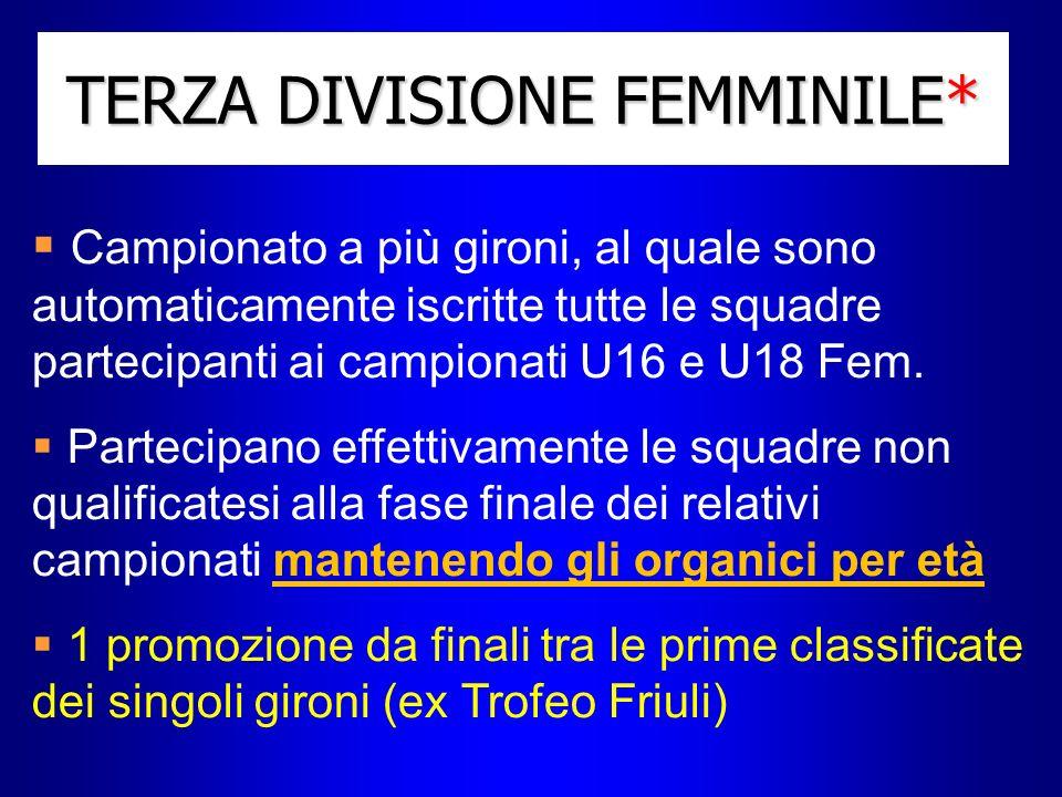 TERZA DIVISIONE FEMMINILE* Campionato a più gironi, al quale sono automaticamente iscritte tutte le squadre partecipanti ai campionati U16 e U18 Fem.