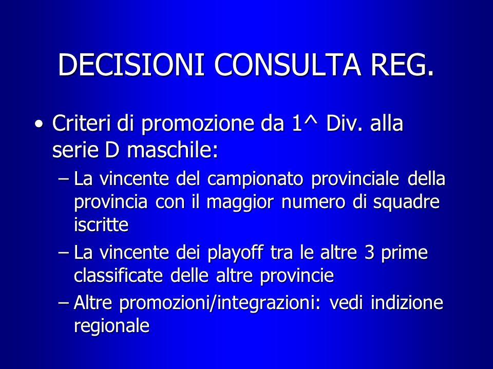 DECISIONI CONSULTA REG. Criteri di promozione da 1^ Div. alla serie D maschile:Criteri di promozione da 1^ Div. alla serie D maschile: –La vincente de