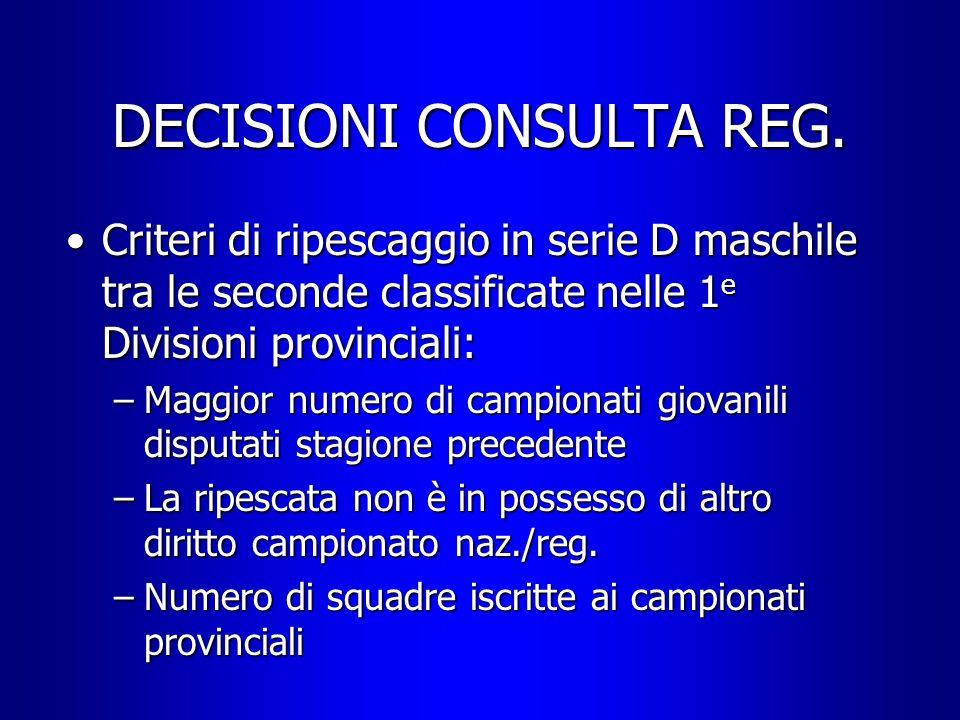 DECISIONI CONSULTA REG. Criteri di ripescaggio in serie D maschile tra le seconde classificate nelle 1 e Divisioni provinciali:Criteri di ripescaggio