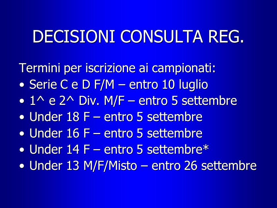 DECISIONI CONSULTA REG. Termini per iscrizione ai campionati: Serie C e D F/M – entro 10 luglioSerie C e D F/M – entro 10 luglio 1^ e 2^ Div. M/F – en