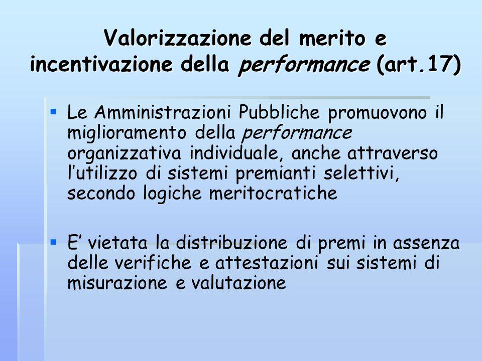 Valorizzazione del merito e incentivazione della performance (art.17) Le Amministrazioni Pubbliche promuovono il miglioramento della performance organ