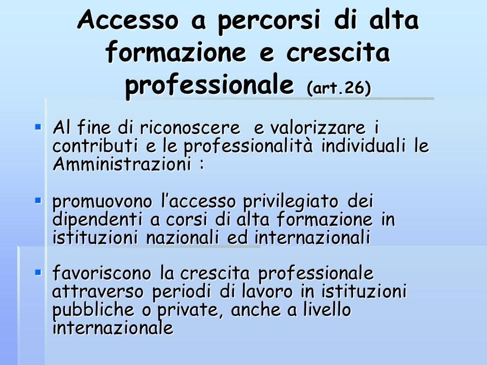 Accesso a percorsi di alta formazione e crescita professionale (art.26) Al fine di riconoscere e valorizzare i contributi e le professionalità individ