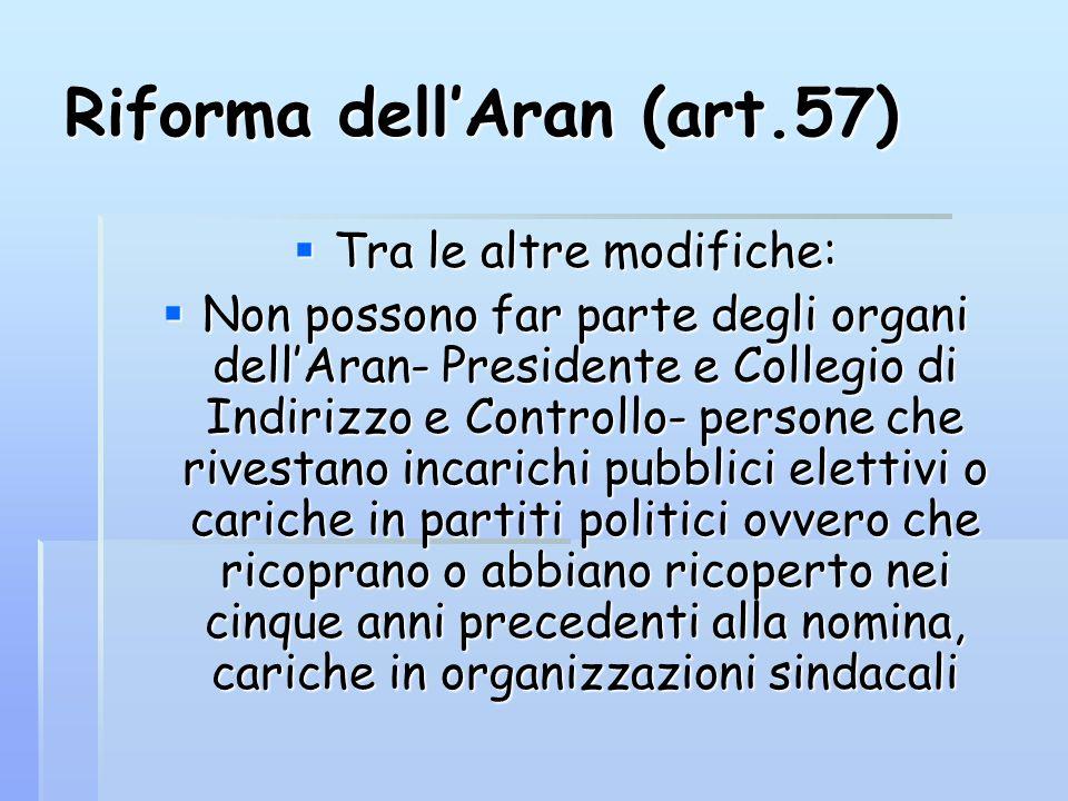 Riforma dellAran (art.57) Tra le altre modifiche: Tra le altre modifiche: Non possono far parte degli organi dellAran- Presidente e Collegio di Indiri
