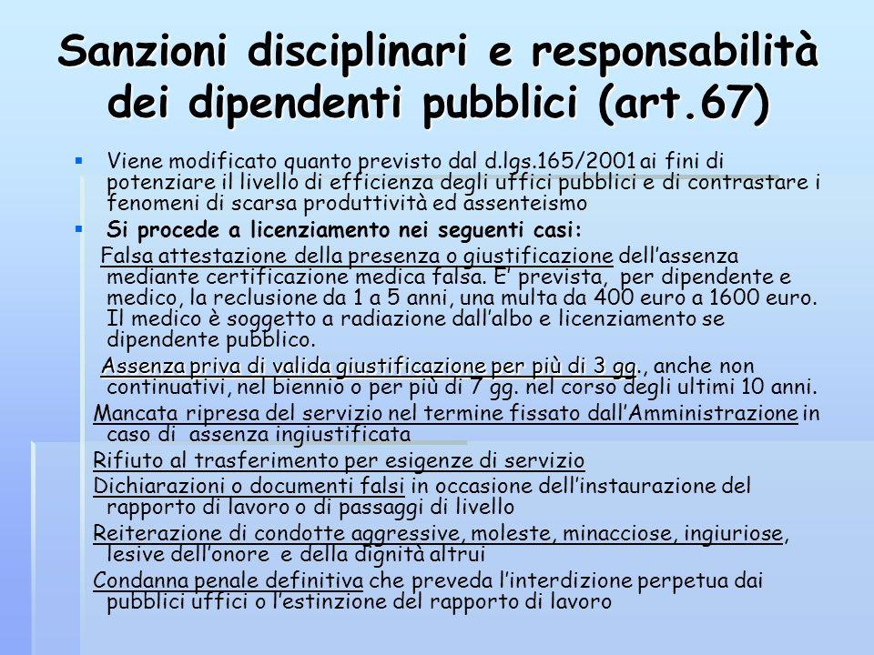 Sanzioni disciplinari e responsabilità dei dipendenti pubblici (art.67) Viene modificato quanto previsto dal d.lgs.165/2001 ai fini di potenziare il l