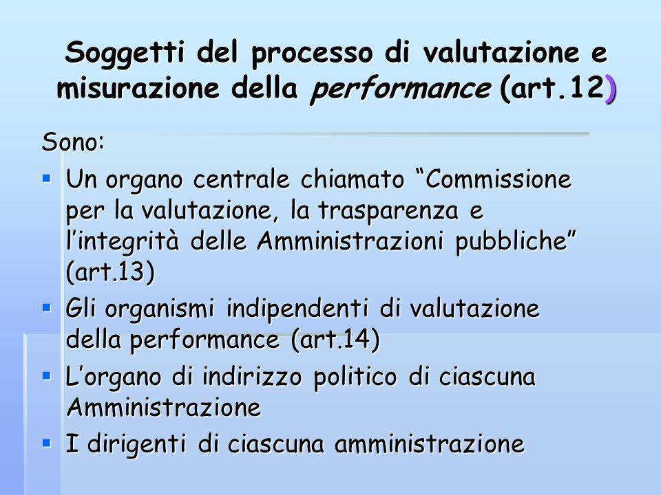 Soggetti del processo di valutazione e misurazione della performance (art.12) Sono: Un organo centrale chiamato Commissione per la valutazione, la tra