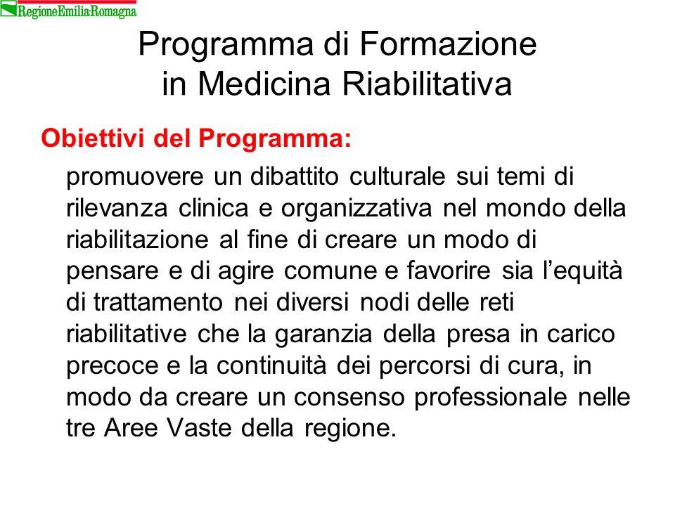 Programma di Formazione in Medicina Riabilitativa Obiettivi del Programma: promuovere un dibattito culturale sui temi di rilevanza clinica e organizza