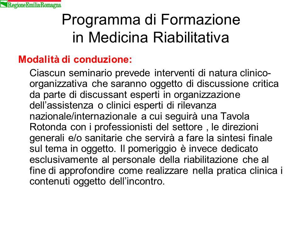 Programma di Formazione in Medicina Riabilitativa Modalità di conduzione: Ciascun seminario prevede interventi di natura clinico- organizzativa che sa