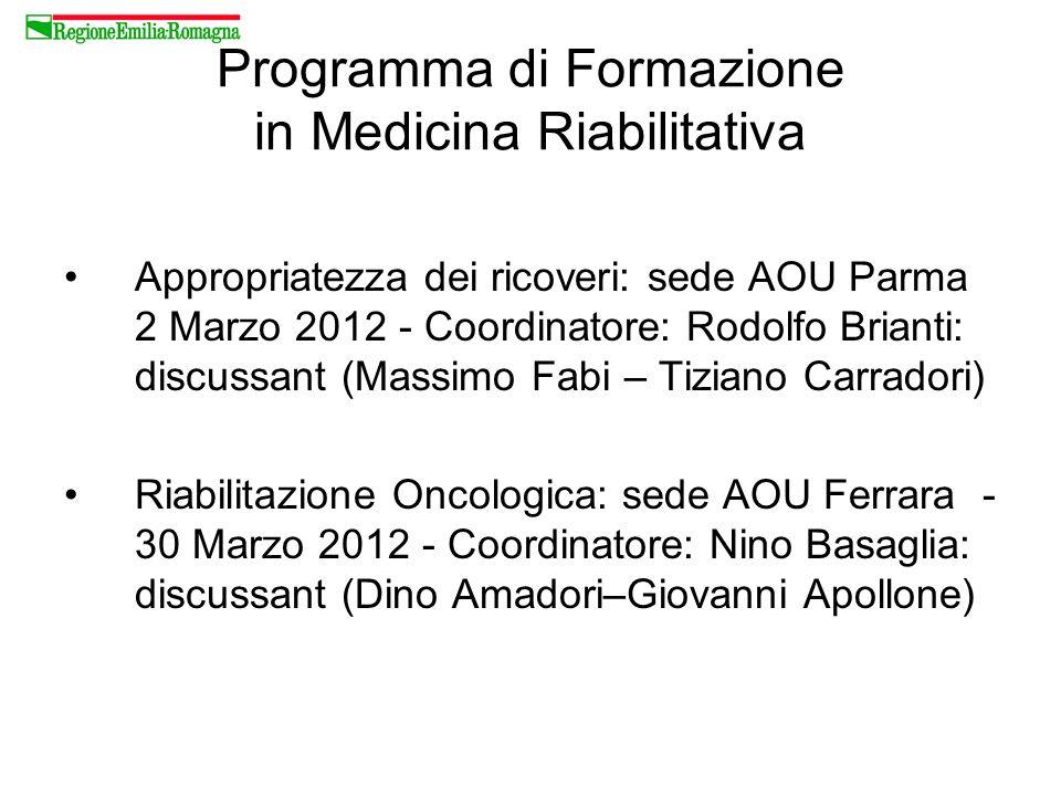 Programma di Formazione in Medicina Riabilitativa Appropriatezza dei ricoveri: sede AOU Parma 2 Marzo 2012 - Coordinatore: Rodolfo Brianti: discussant